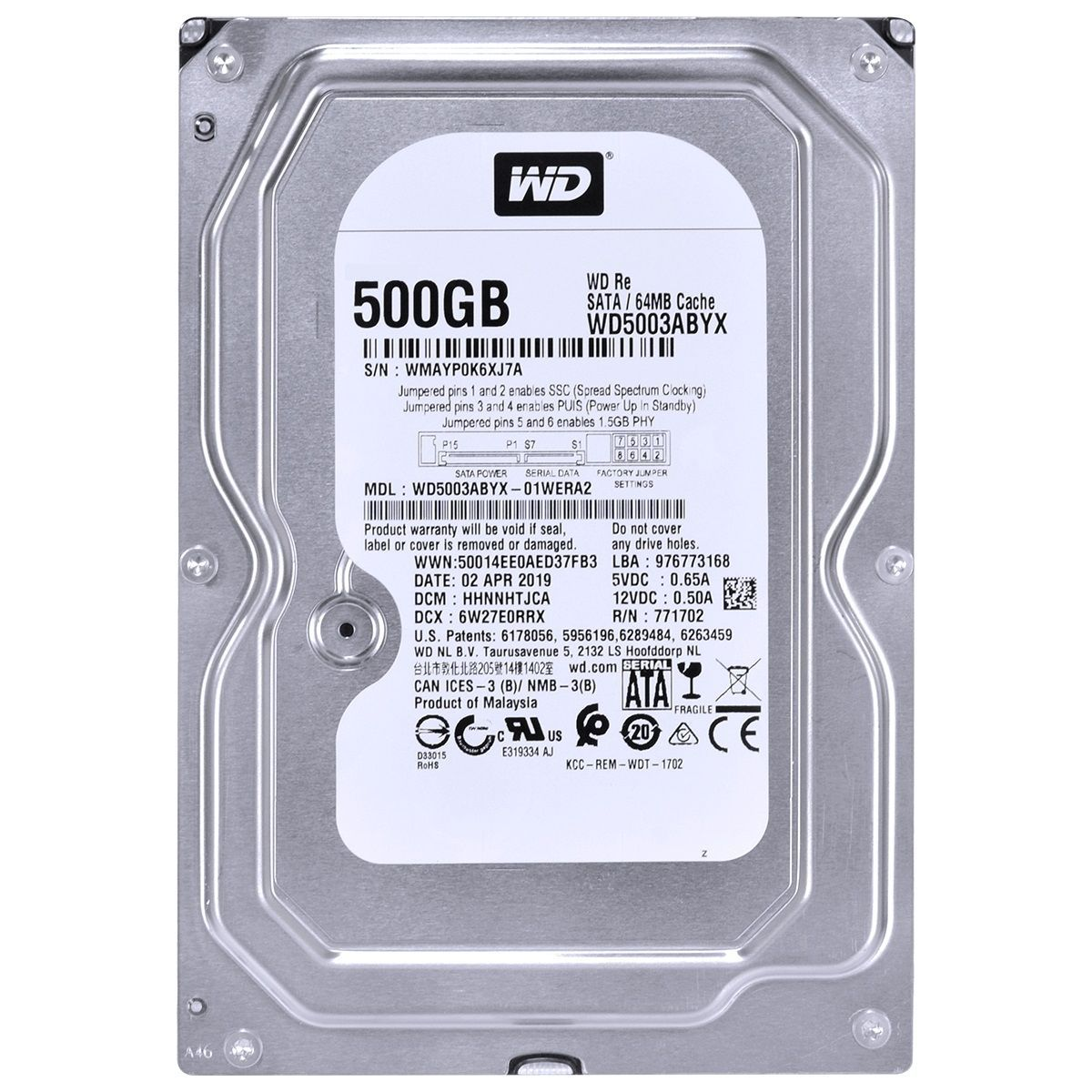 HD 500GB 7200rpm 3,5 Sata II 64MB WD5003ABYX  - Western Digital