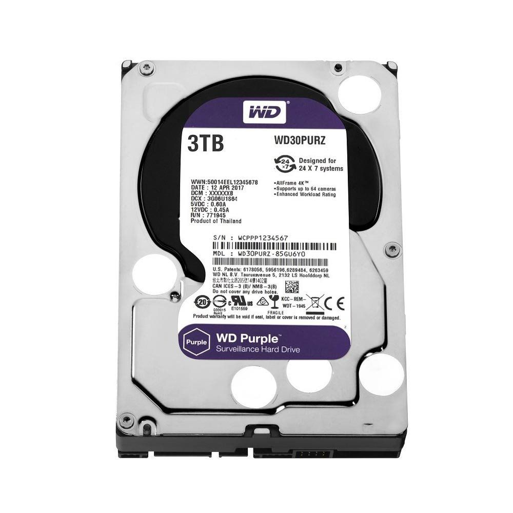 HD Interno 3TB Sata III 64MB Purple Surveillance WD30PURZ - Western Digital