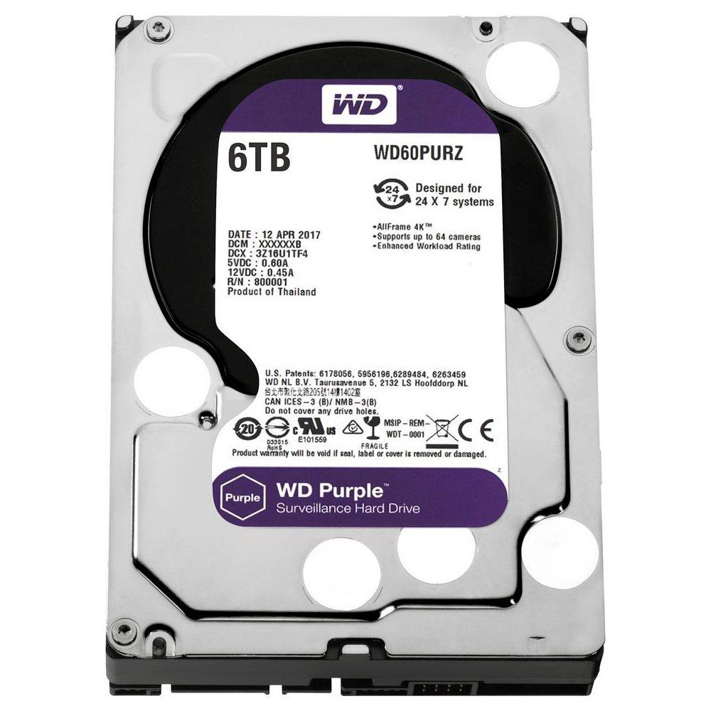 HD Interno 6TB Sata III Purple Surveillance IntelliPower 64MB Cache SATA 6.0Gb/s WD60PURZ - Western Digital