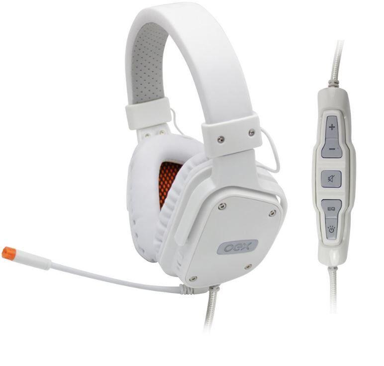 Headset Shield Branco Virtual Surround 7.1 Controle Multifuncional HS409 - OEX