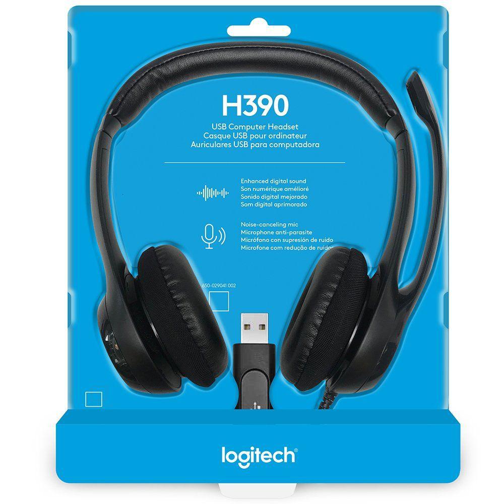 Fone de Ouvido H390 USB Preto 981-000014 - Logitech