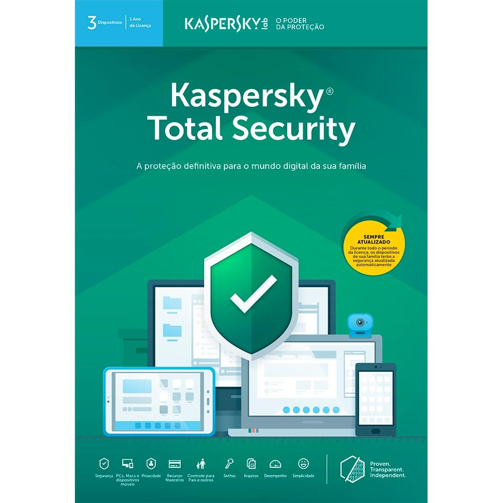 Kaspersky Total Security 2019 Multidispositivos para 03 PC (Digital para Download)