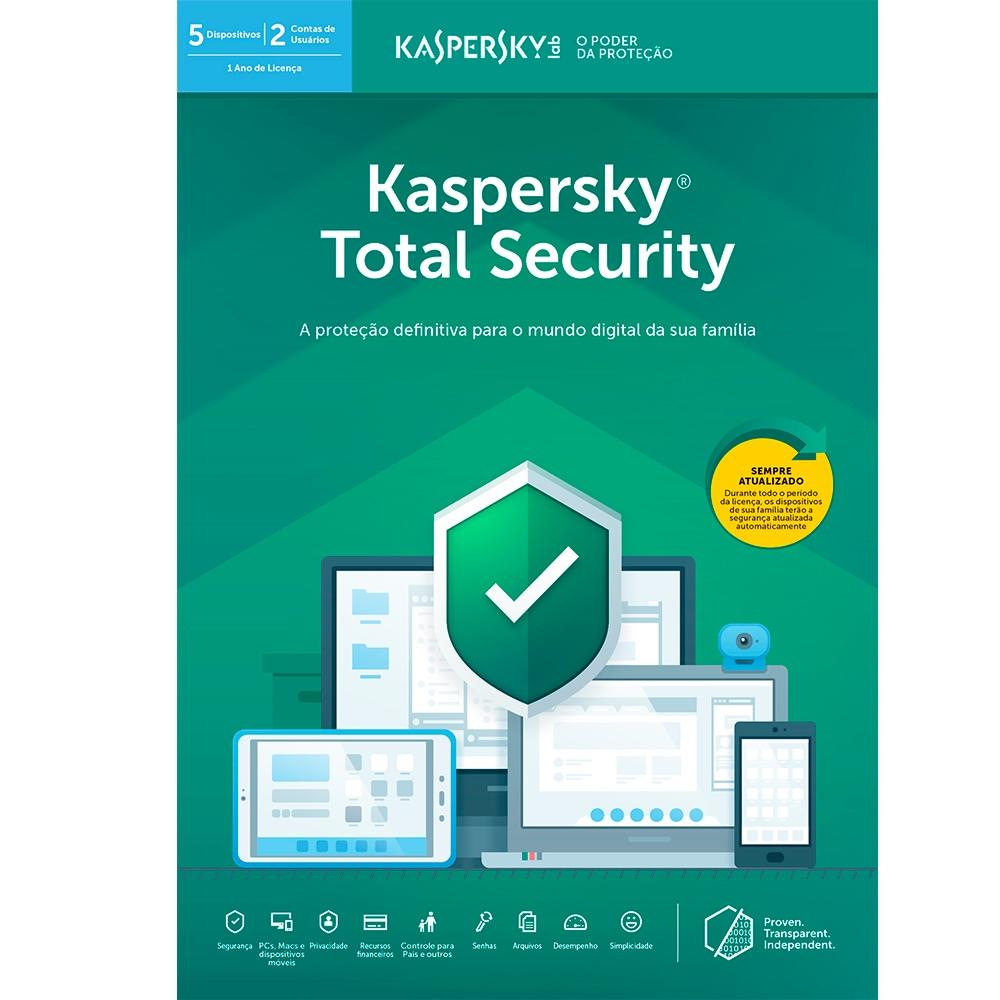 Kaspersky Total Security 2019 Multidispositivos para 05 PC (Digital para Download)