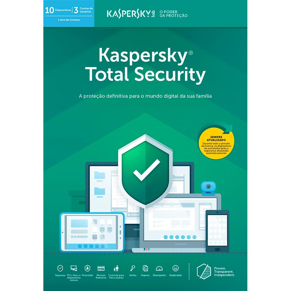 Kaspersky Total Security 2019 Multidispositivos para 10 PC (Digital para Download)