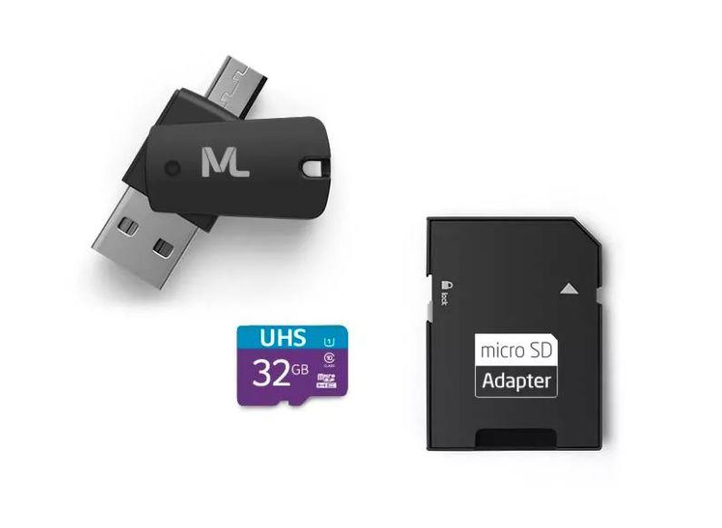 Kit 4 em 1 Cartão de Memória Ultra High Speed-I + Adaptador USB Dual Drive + Adaptador SD 32GB MC151 - Multilaser