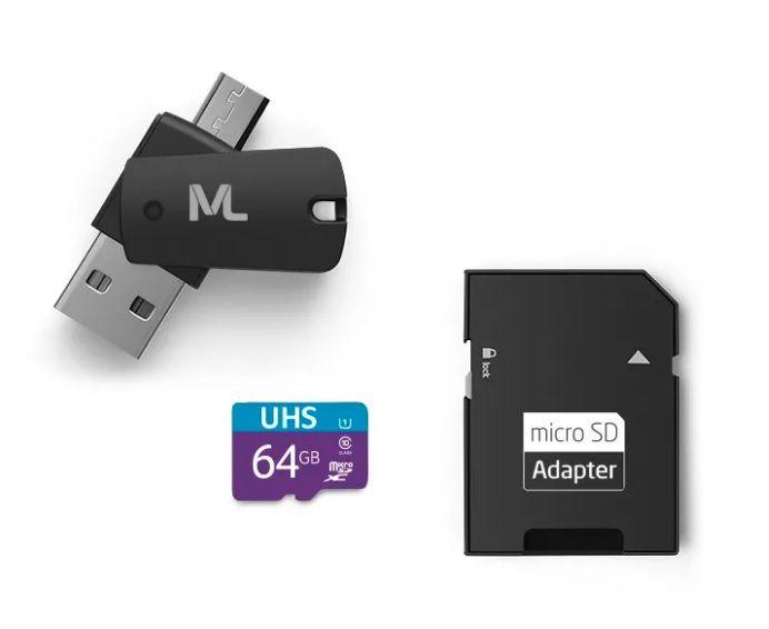 Kit 4 em 1 Cartão de Memória Ultra High Speed-I + Adaptador USB Dual Drive + Adaptador SD 64GB MC152 - Multilaser