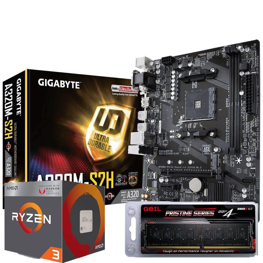 Kit AM4 Ryzen 3 2200G + Memória DDR4 4GB + Placa Mãe Gigabyte