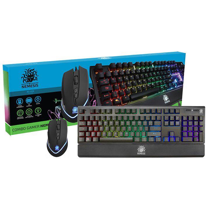 Kit Teclado Mecânico e Mouse 3200 DPI Gamer Nemesis NMX Iluminação LED KG-01N - Nemesis