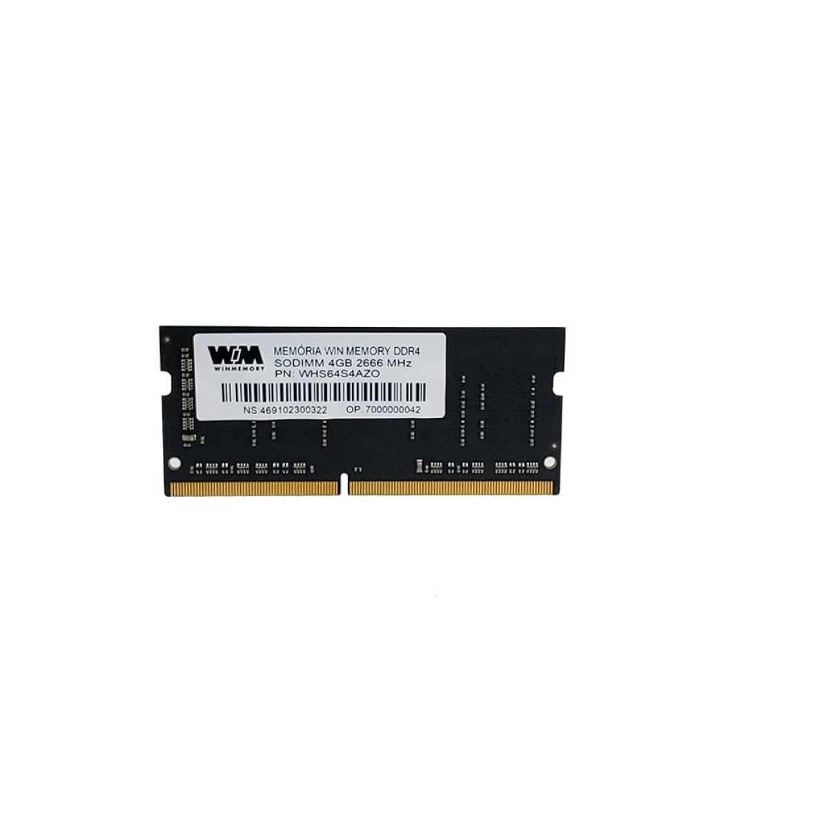 Memória para Notebook Sodimm Notebook 4GB DDR4 2666MhHz - Win Memmory