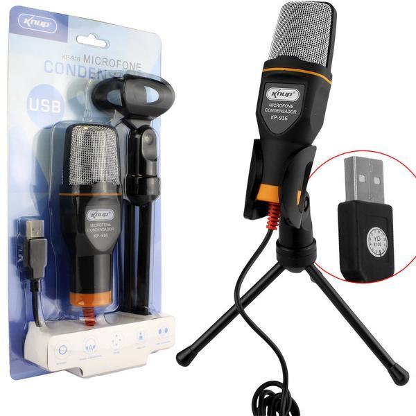 Microfone Condensador USB para Vídeo Youtube e Mesa Gravação KP-916 - Knup