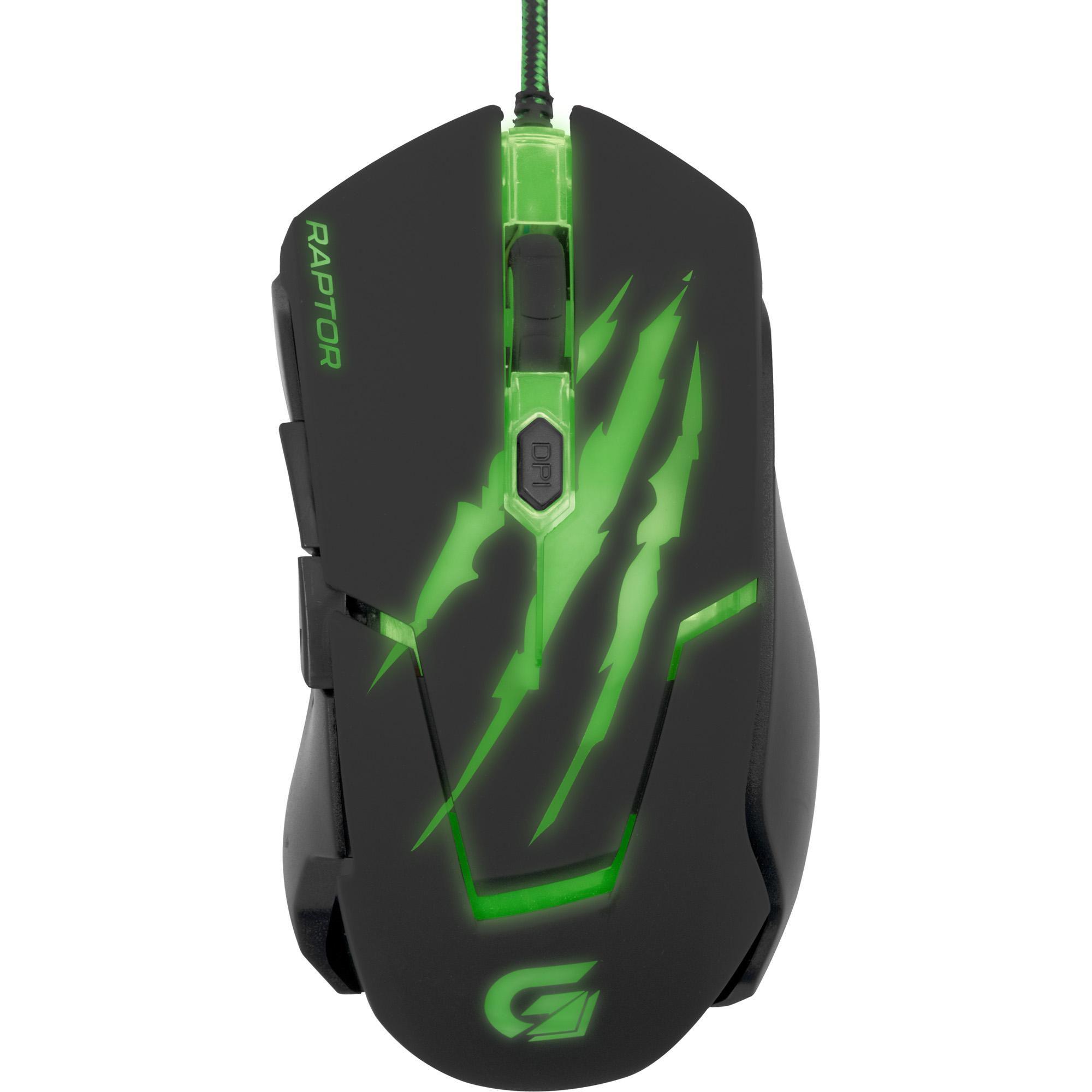 Mouse Gamer USB 3200DPI RAPTOR OM-801 Preto/Verde 60839 - Fortrek