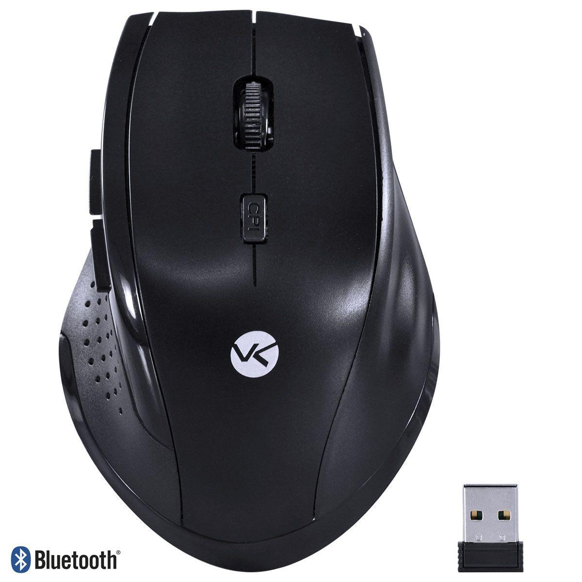 Mouse sem fio Híbrido 2.4Ghz + Bluetooth 4.0 1200 DPI Dynamic Ergo Preto USB DM120 - Vinik
