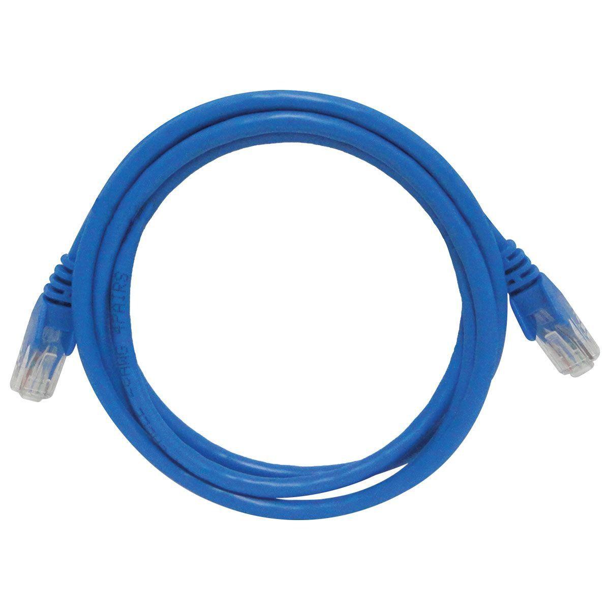 Patch Cord UTP CAT6 26AWG padrão 568B 1,5 Metros Azul 29582 - Seccon