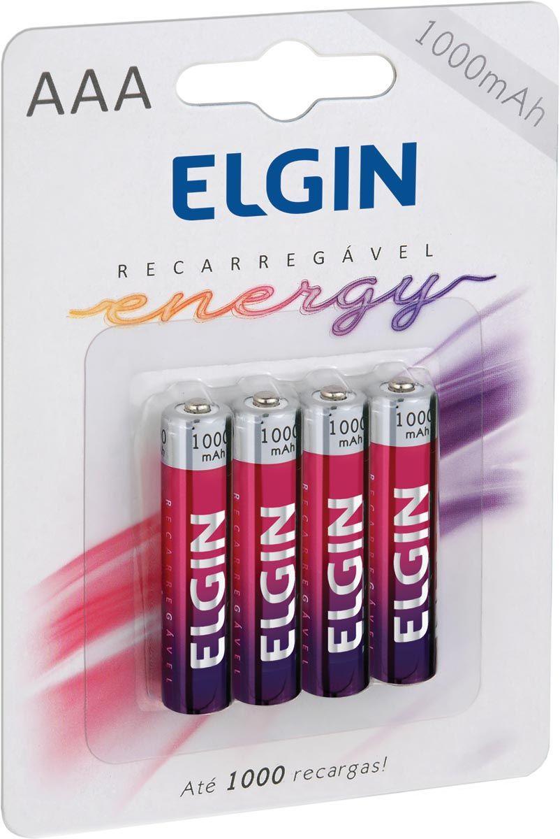 Pilhas Recarregável AAA 1000mAh com 4 Unidades 82171 - Elgin