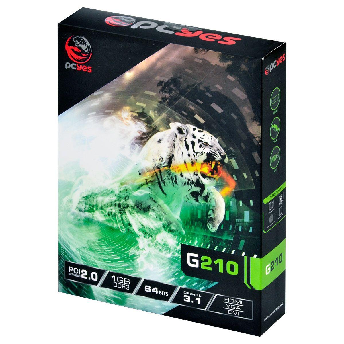Placa de Vídeo GeForce G210 1GB DDR3 64 Bits com Kit (Low Profile Incluso) PA210G6401D3LP - Pcyes