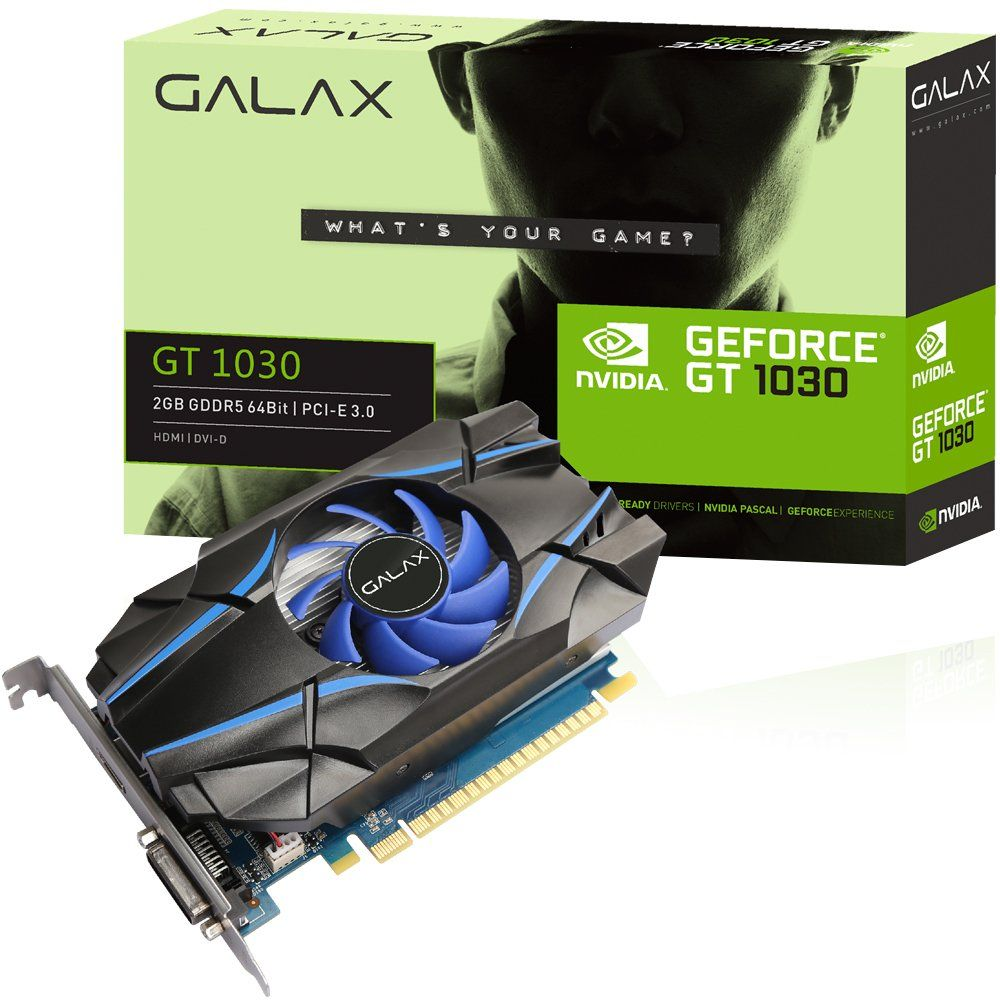 Placa de Vídeo GeForce GT1030 2GB DDR5 64Bits DVI/HDMI 30NPH4HVQ4ST - Galax