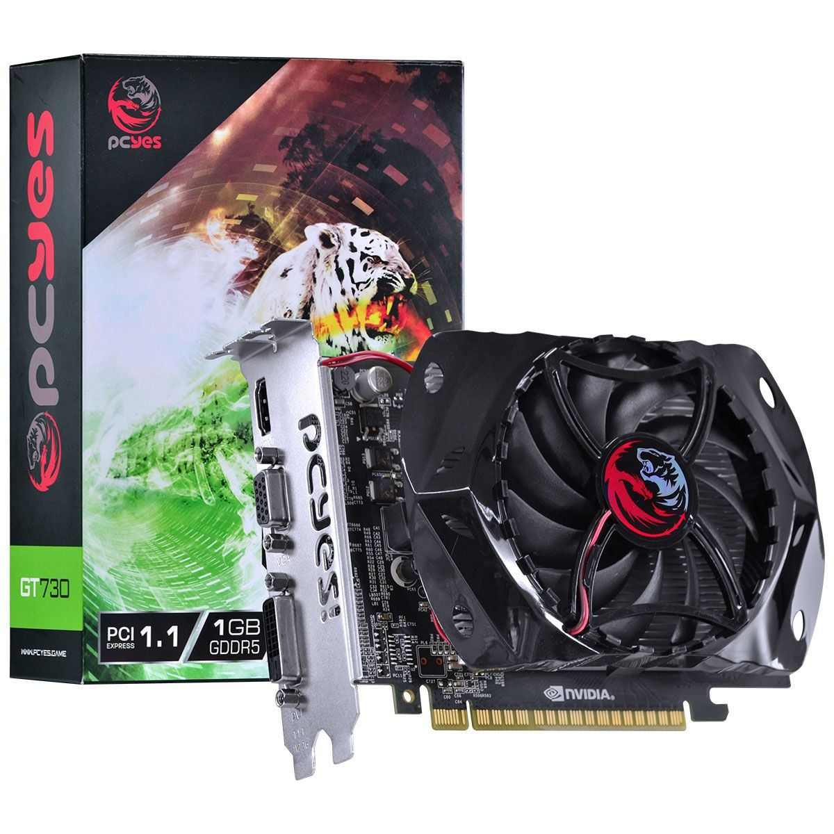 Placa de Vídeo GeForce GT 730 1GB GDDR5 128 Bits Gaming Editon PY730GT12801G5 - Pcyes