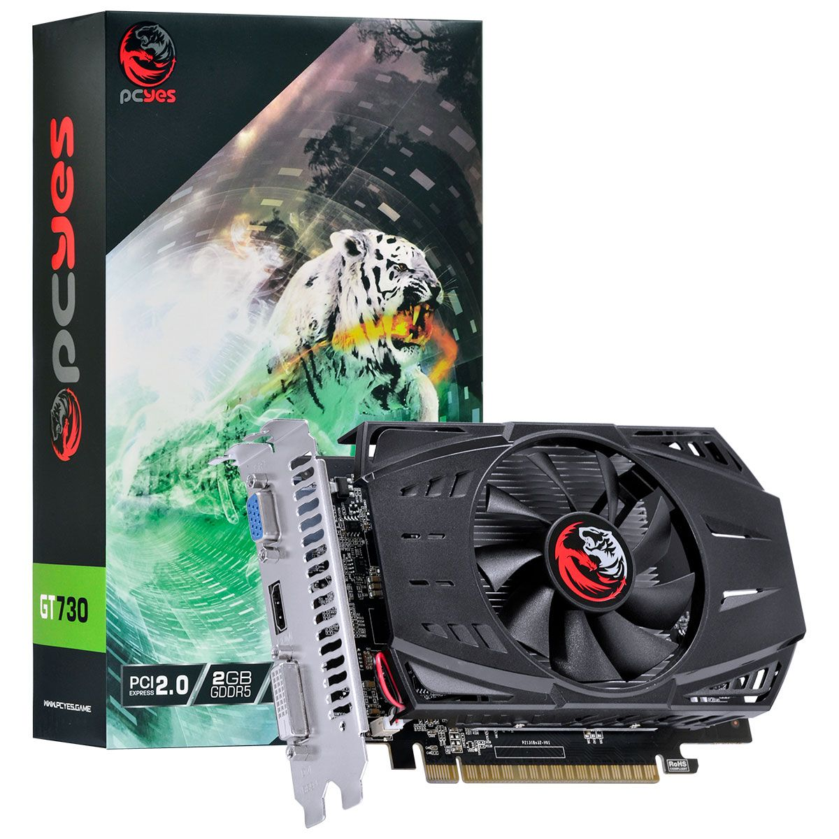 Placa de Vídeo Geforce GT 730 2GB GDDR5 64Bits PA730GT6402G5 - PCYES