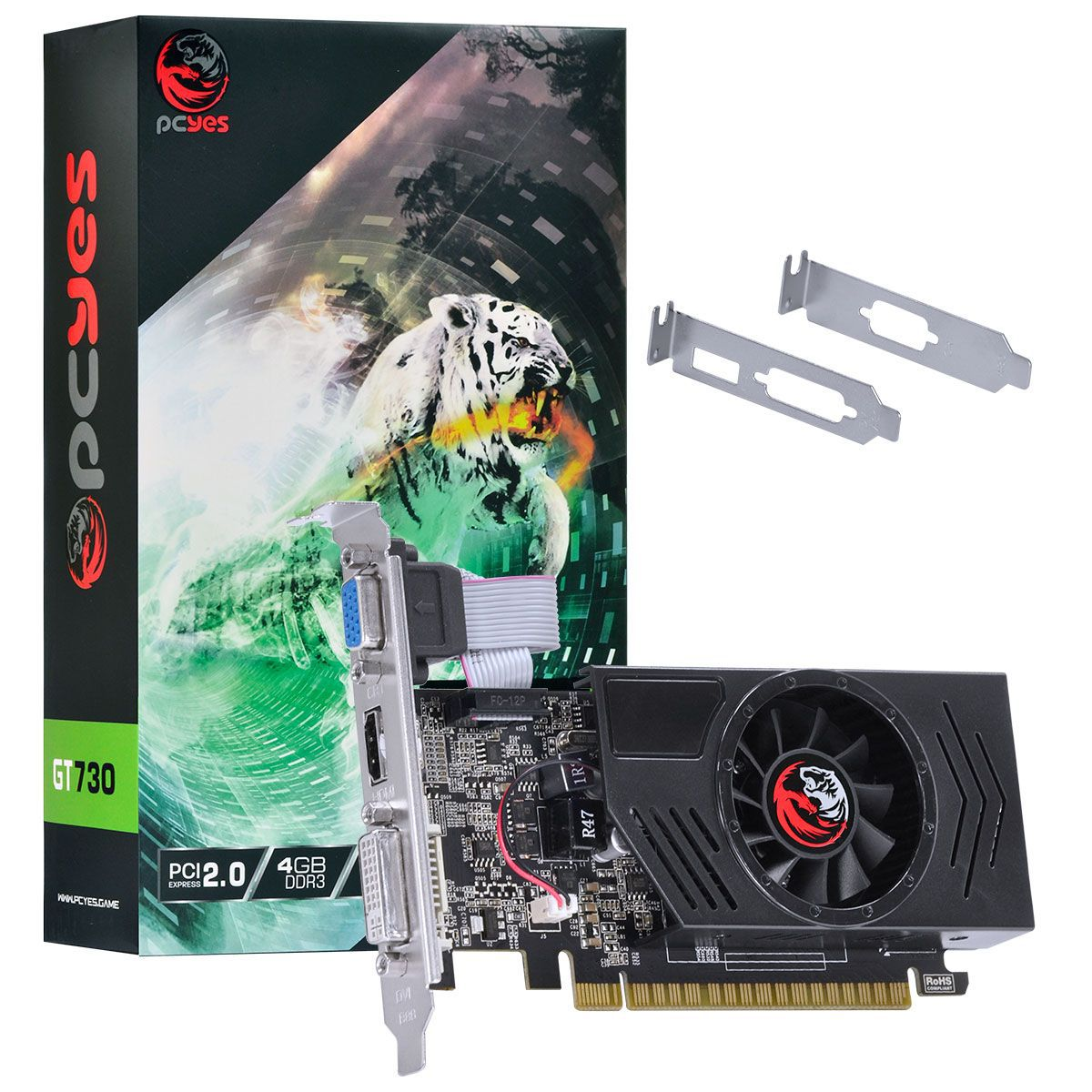 Placa de Vídeo Geforce GT 730 4GB DDR3 128Bits com kit low profile PA730GT12804D3 - Pcyes