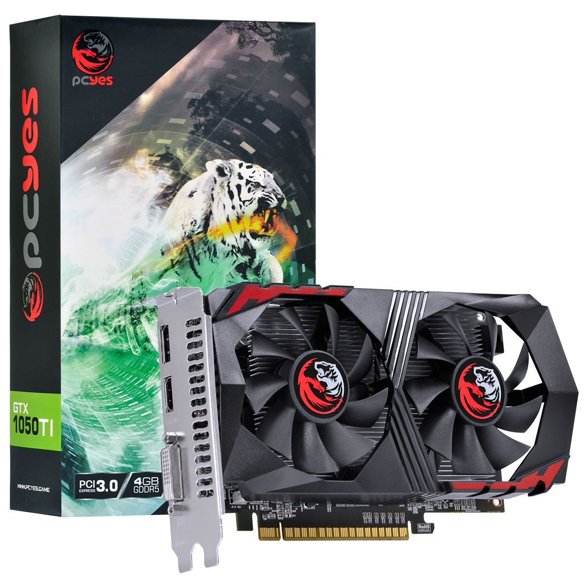 Placa de Vídeo Geforce GTX 1050 Ti 4GB, GDDR5, 128 Bits, Dual Fan PA1050TI12804G5DF - Pcyes