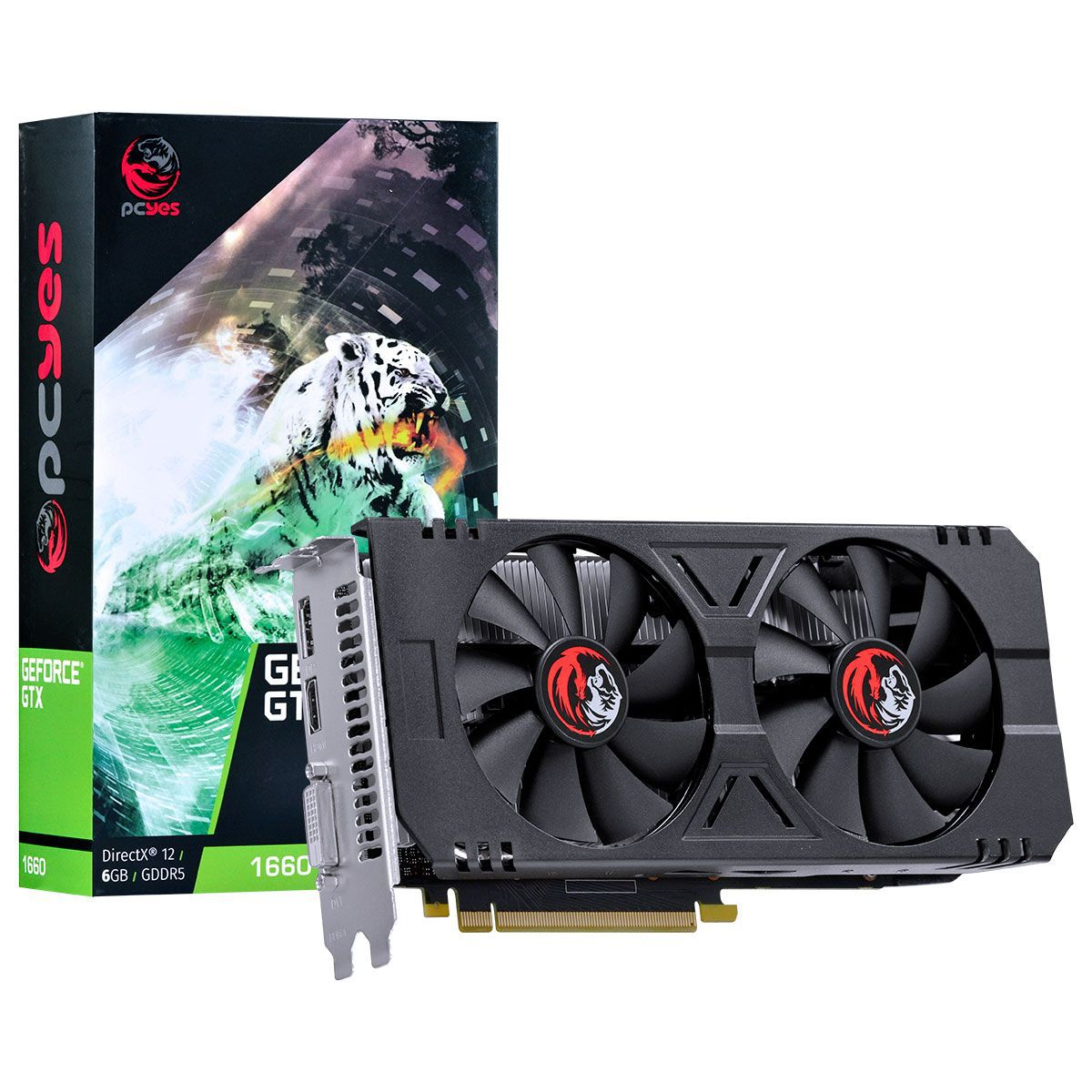 Placa de Vídeo Geforce GTX 1660 6GB GDDR5 192 Bits DUAL-FAN - PA166019206G5 - Pcyes
