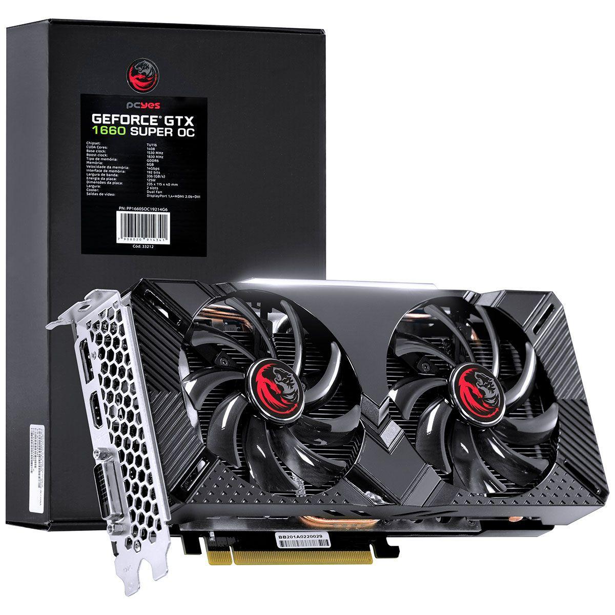 Placa de Vídeo Geforce GTX 1660 Super OC GDDR6 6GB 192 Bits Dual Fan PP1660SOC19214G6 - Pcyes