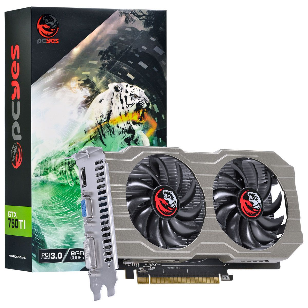 Placa de Vídeo Geforce GTX 750 Ti 2GB GDDR5 128Bits Dual Fan PA750TI12802G5DF - PCYES