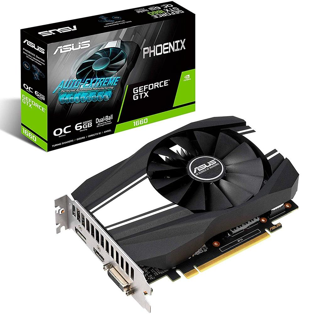 Placa de Vìdeo Geforce Phoenix GTX 1660 6GB, GDDR5 PH-GTX1660-O6G - Asus