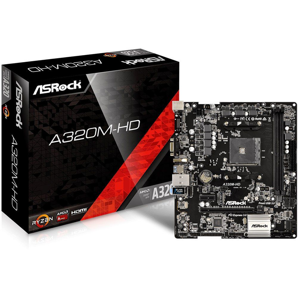 Placa Mãe AM4 A320M-HD DDR4 HDMI/VGA USB 3.1 - Asrock