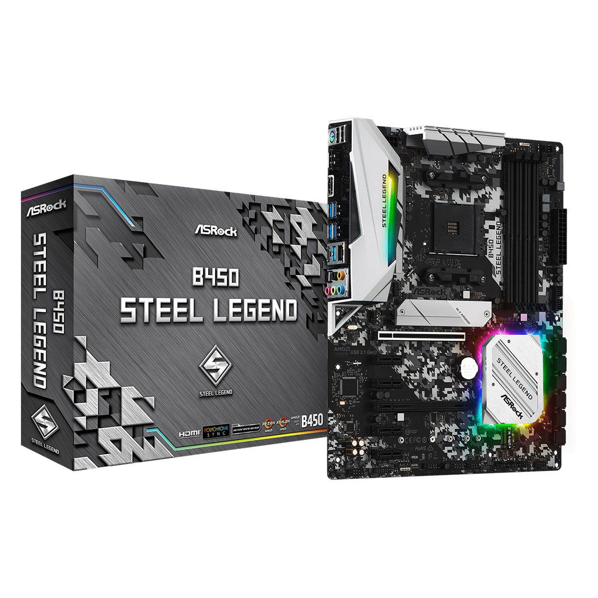 Placa Mãe AM4 B450 Steel Legend USB 3.1 DDR4 Displayport, HDMI - Asrock