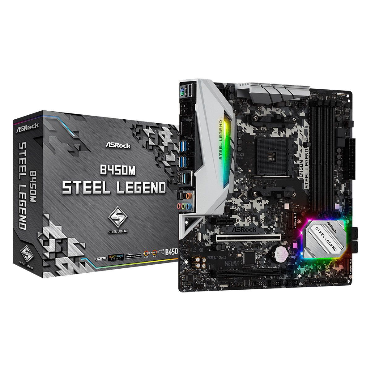 Placa Mãe AM4 B450M Steel Legend AM4  - Asrock