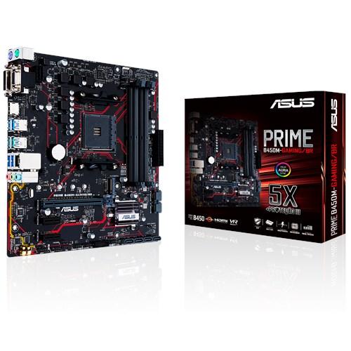 Placa Mãe AM4 Prime B450M-Gaming/BR Aura Sync RGB M.2 HDMI USB 3.1 - Asus
