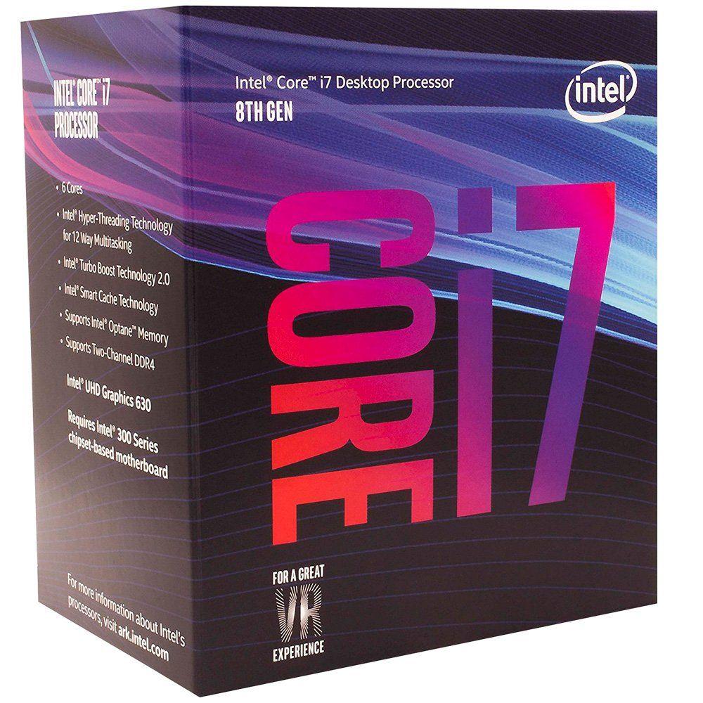 Processador 8ª Geração LGA 1151 Core i7 8700 3.2Ghz 12MB Coffee Lake Box BX80684I78700 - Intel
