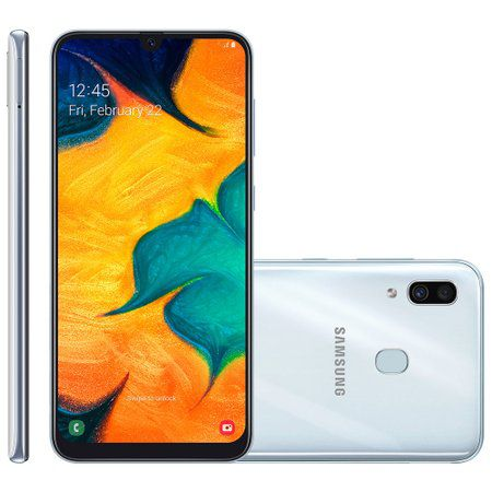 Smartphone Galaxy A30, 64 GB, 16MP + 5MP, 4G, Dual Chip, Branco A305G - Samsung