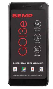 Smartphone GO! 3e Preto Tela 5 3G+Wi-Fi Android Cam Traseira 8MP e Frontal 5MP 8GB - Semp