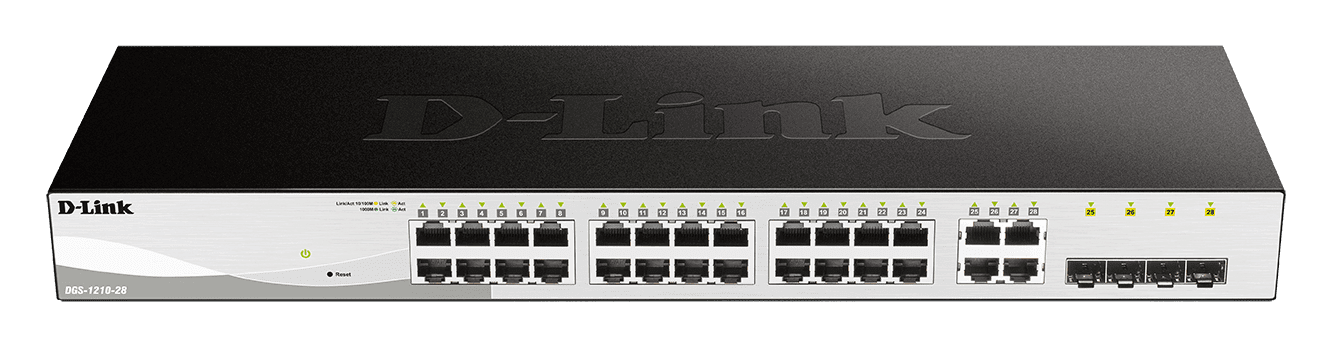 Switch 24 Portas Gigabit 10/100/1000 + 4 Portas Fibra GE/SFP Smart Managed DGS-1210-28 - D-Link