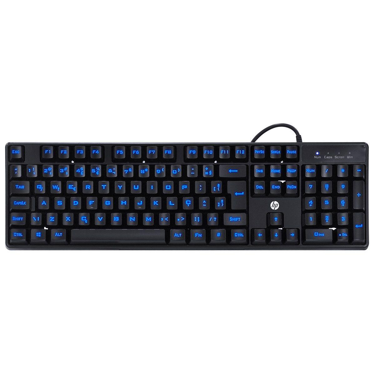 Teclado Gamer K300 Preto Led Azul ABNT2 - HP