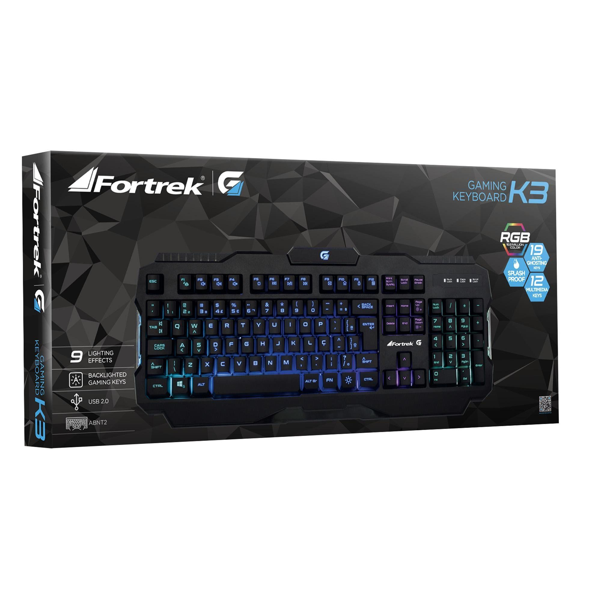 Teclado Gamer Pro K3 RGB Preto 64471 - Fortrek
