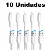 Kit Cabos iPhone 5 Lightning Pmcell Solid 997 CB-11 2 Metros com 10 Peças