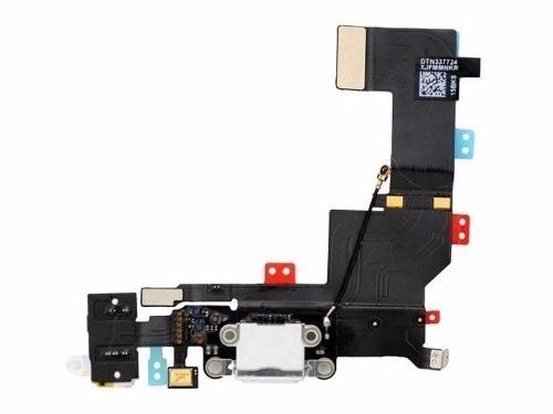 Flex Conector de Carga iPhone 5S Branco com Microfone e Antena