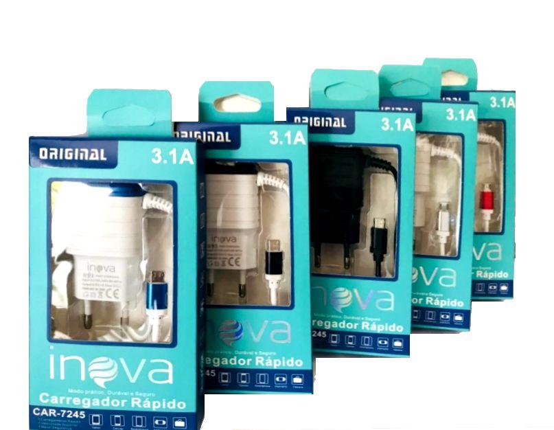 Carregador Inova V8 2 USB 7245 - Escolha Cor