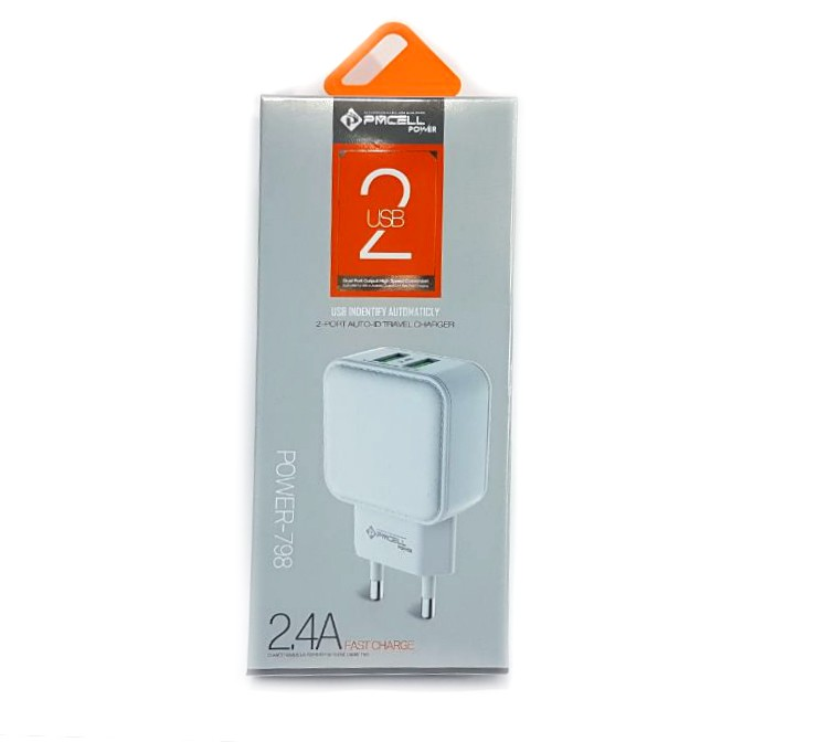 Fonte Parede Pmcell Power 798 2 Usb 2.4A Branco HC22