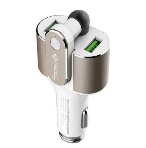 Carregador Veicular Turbo Plus com Fone Bluetooth 4.2A 2USB PMCELL 2 em 1 CV-52