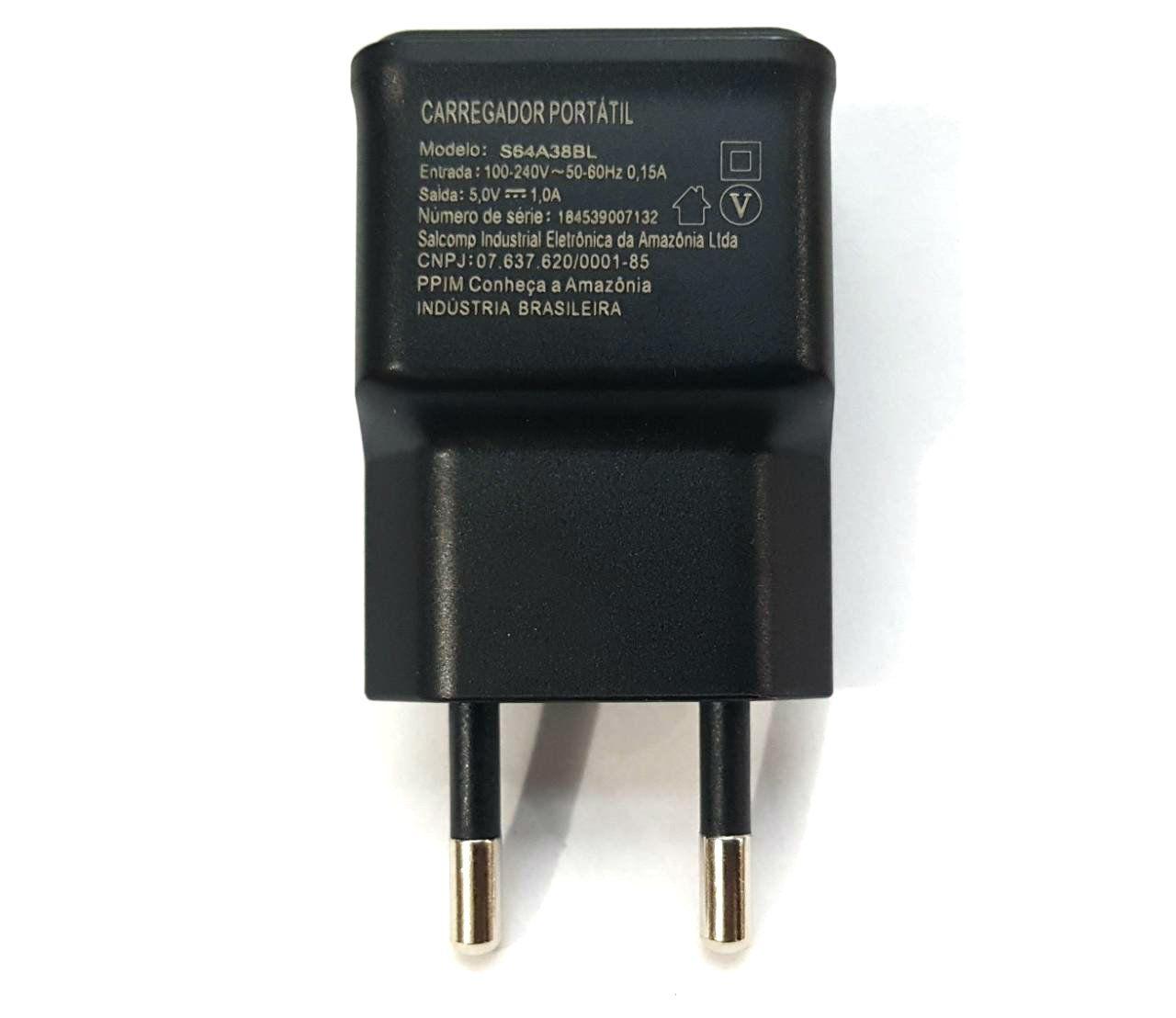 Fonte USB Parede 5V S64A38BL Preto