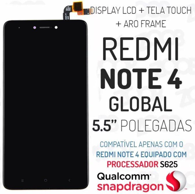 Frontal Xiaomi Redmi Note 4 SnapDragon 625 5.5 Polegadas Preto