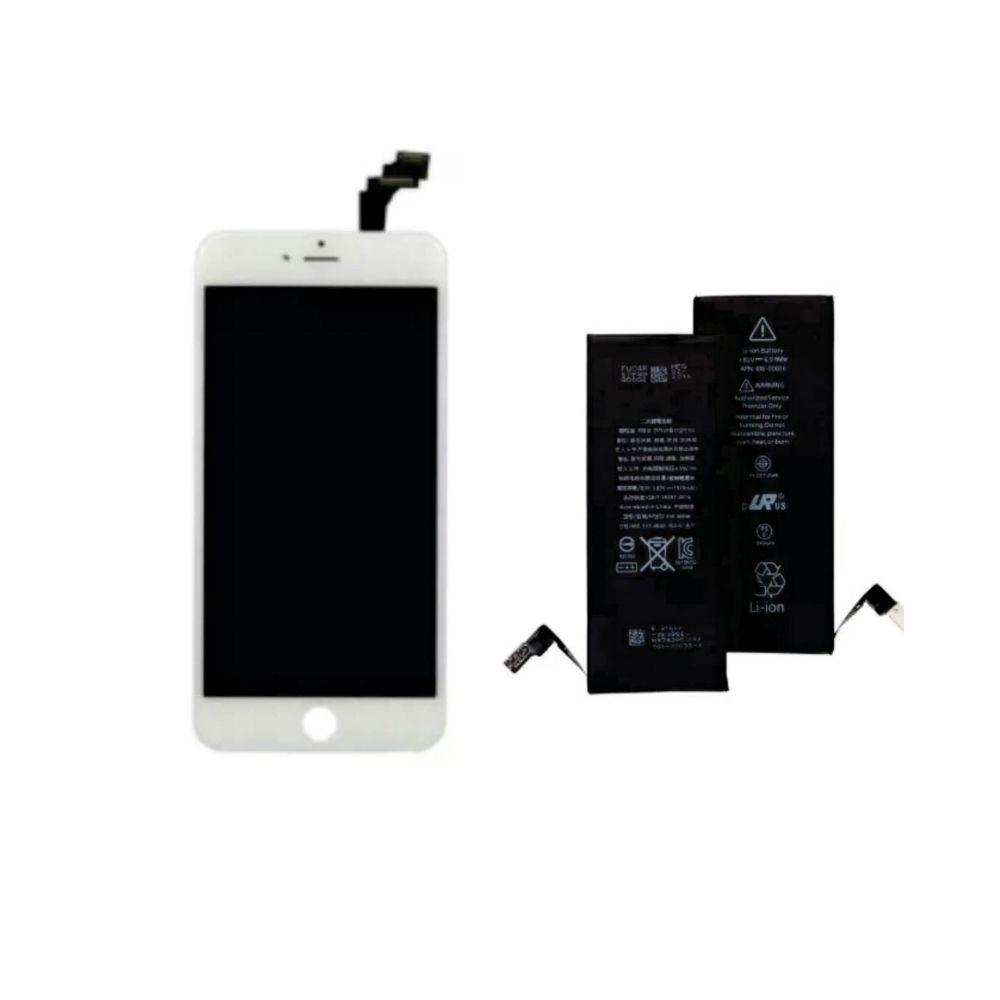 Kit Display Frontal iPhone 6G Branco 1 Linha + Bateria iPhone 6G 1 Linha