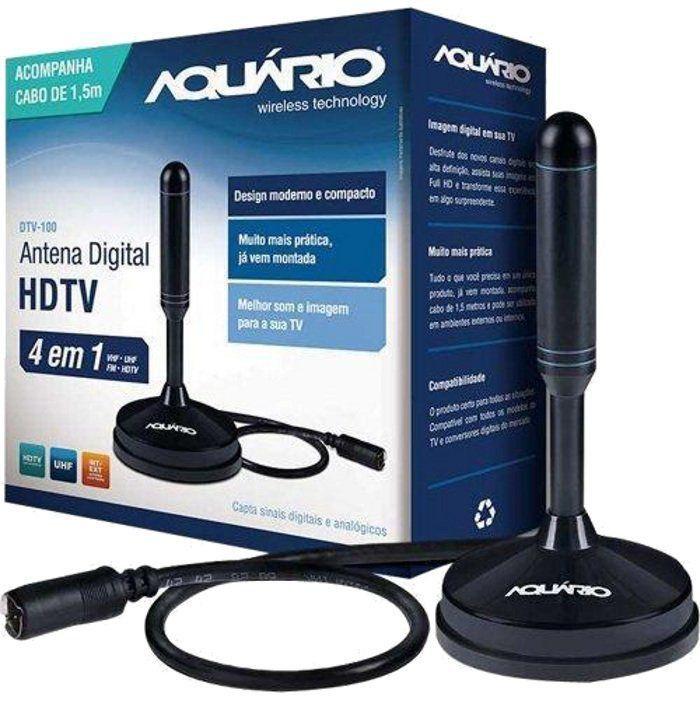 Antena Tv Digital Hdtv DTV 150 Aquario Cabo 5 metros  - EMPORIO K