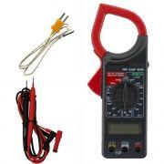 Alicate Amperímetro Digital Temperatura FT 266-C Termopar K