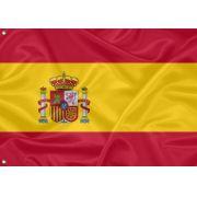 Bandeira  Bordada Espanha 1,12 X 1,60 com Ilhós