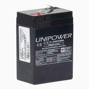 Bateria Selada Unipower  VRLA 6V 4,5Ah modelo UP645seg Luz Emergencia Brinquedos Alarmes
